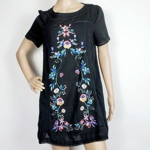 umgee Black Embroidered Tunic Dress Small